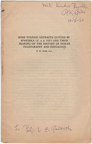 Some Puranic Extracts Quoted by Apararka (C.: Gode, P.K. (Parshuram