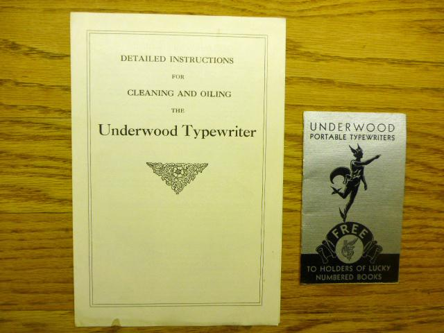 2 items - Underwood Portable Typewriters. Free to Holders of Lucky Numbered Books - and a 6.0 x 8.875 inch folded pamphlet titled  Detailed Instructi The first item was used to promote Underwood Typewriters at the 1933 Chicago Fair titled âA Century of Progress.â This item is in fine condition with