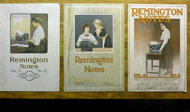 Remington Notes - 3 issues - 1916 to 1917 Remington Office Machines Very Good These three 6.625 x 9.627 inch issues of Remington Notes are Vol. 3 No. 11 - circa 1916 with no date given - Vol. 4 No. 2 - September 1916 - and Vol.