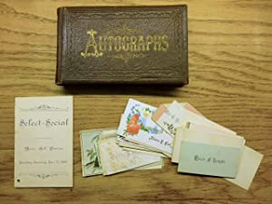 Autograph Book and accompanying ephemera - 1898 school report cards - 33 personal calling cards a...