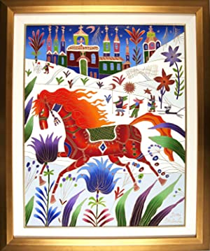 Red Horse In Winter [ORIGINAL OIL PAINTING, FRAMED]: Gorbachev, Yuri