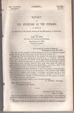 Report of the Secretary of the Interior,: Secretary of the