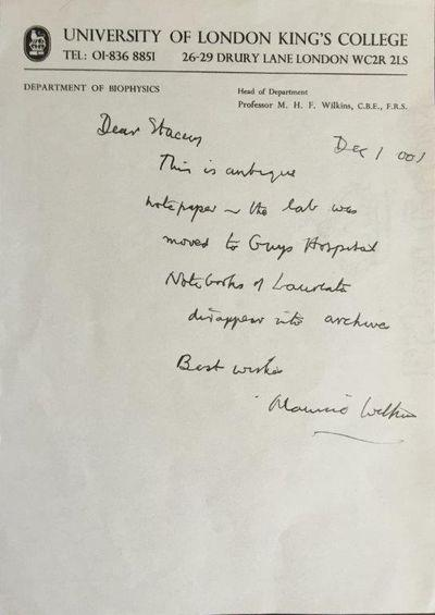 "AUTOGRAPH LETTER SIGNED, addressed ""Dear Stacey"", on University of London King's ..."