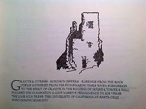 Granite & Cypress: Rubbings from the Rock.: JEFFERS, Robinson.