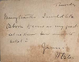 Autograph post card signed from Osler to J. A. Brown regarding attending a lecture or debate with [...