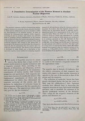 A Quantitative Determination of the Neutron Moment in Absolute Nuclear Magnetons.: ALVAREZ, Luis W....