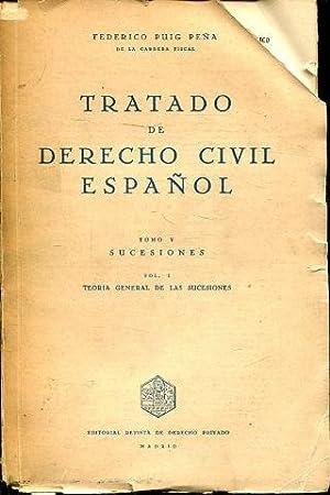 TRATADO DE DERECHO CIVIL ESPAÑOL. TOMO V: PUIG PEÑA, Federico.