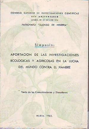 SIMPOSIO: APORTACIÓN DE LAS INVESTIGACIONES ECOLÓGICAS Y