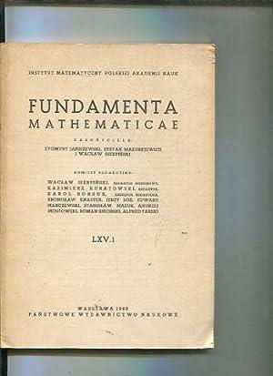 FUNDAMENTA MATHEMATICAE LXV 1.: VV.AA.