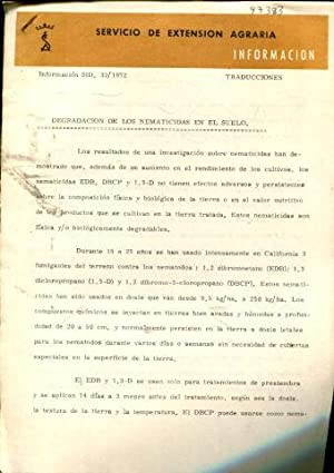 DEGRADACION DE LOS NEMATICIDAS EN EL SUELO.
