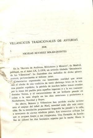 VILLANCICOS TRADICIONALES DE ASTURIAS.: ALVAREZ SOLAR QUINTES, Nicolas.
