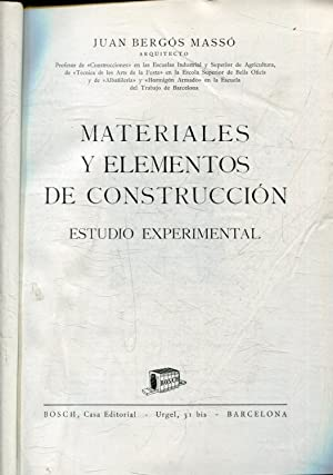 MATERIALES Y ELEMENTOS DE CONSTRUCCION. ESTUDIO EXPERIMENTAL.