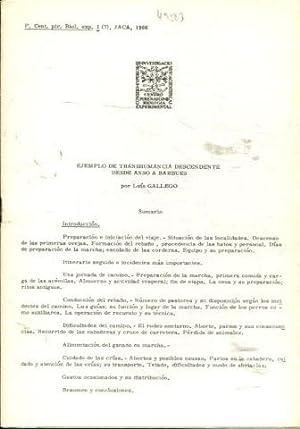 EJEMPLO DE TRASHUMANCIA DESCENDENTE DESDE ANSO A BARBUES.: GALLEGO, Luis.