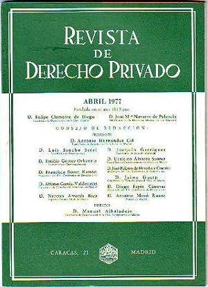 REVISTA DE DERECHO PRIVADO. ABRIL 1977.