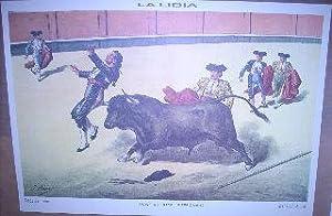 LA LIDIA. COJIDA DEL BANDERILLERO. LAMINA FACSIMIL. (LIT. DE PALACIOS).