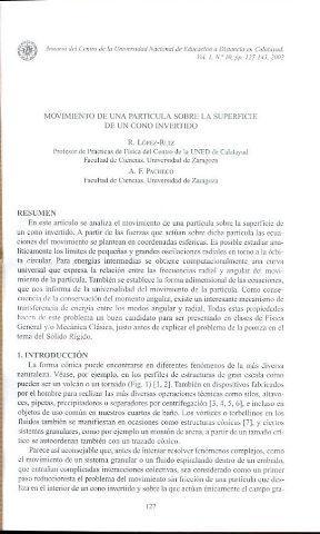 MOVIMIENTO DE UNA PARTICULA SOBRE LA SUPERFICIE DE UN CONO INVERTIDO.: LOPEZ-RUIZ, R.
