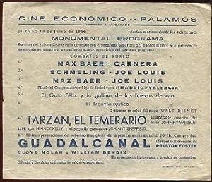 PROGRAMA DE MANO. CARTEL DE CINE. ECONOMICO CINE PALAMOS. MONUMENTAL PROGRAMA. COMBATES DE BOXEO: ...