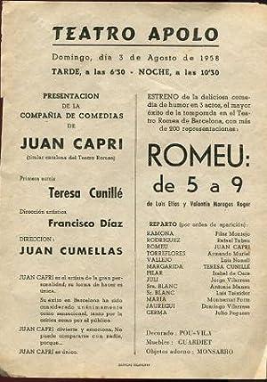 PROGRAMA DE MANO. CARTEL DE CINE. TEATRO APOLO. PRESENTACION DE LA COMPAÑÍA DE ...