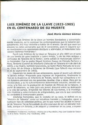 LUIS JIMENEZ DE LA LLAVE (1823-1905) EN EL CENTENARIO DE SU MUERTE.: GOMEZ GOMEZ Jose Maria.