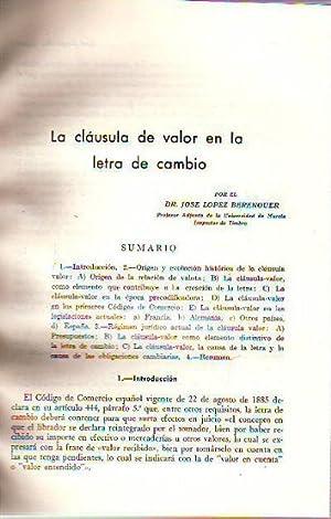 LA CLAUSULA DE VALOR EN LA LETRA: LOPEZ BERENGUER, Jose.