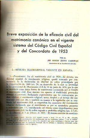 BREVE EXPOSICION DE LA EFICACIA CIVIL DEL MATRIMONIO CANONICO EN EL VIGENTE SISTEMA DEL CODIGO ...