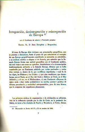 INTEGRACION, DESINTEGRACION Y REINTEGRACION DE EUROPA.: ZARAGÜETA, Juan.