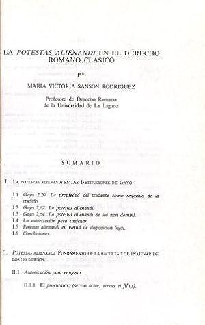 LA POTESTAS ALIENANDI EN EL DERECHO ROMANO: SANSON RODRIGUEZ, Maria