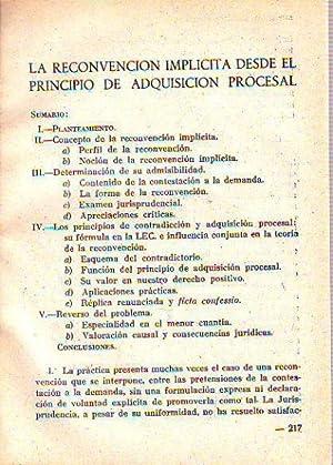 LA RECONVENCION IMPLICITA DESDE EL PRINCIPIO DE ADQUISICION PROCESAL.: LOIS ESTEVEZ, Jose.