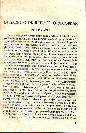 INTERDICTO DE RETENER O RECOBRAR.: RIOS SARMIENTO, Juan.