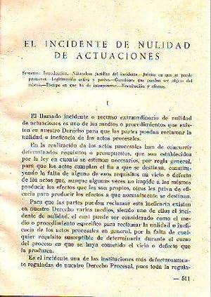 EL INCIDENTE DE NULIDAD DE ACTUACIONES.: GIMENO GAMARRA, Rafael.