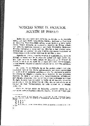 NOTICIAS SOBRE EL ESCULTOR AGUSTIN DE PEREA.: ROMERO GARCIA/HEREDIA MORENO, Purificacion/Mª. Del ...