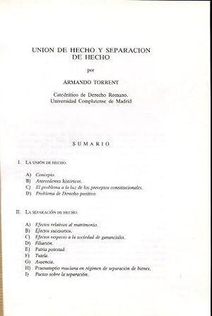 UNION DE HECHO Y SEPARACION DE HECHO.: TORRENT, Armando.