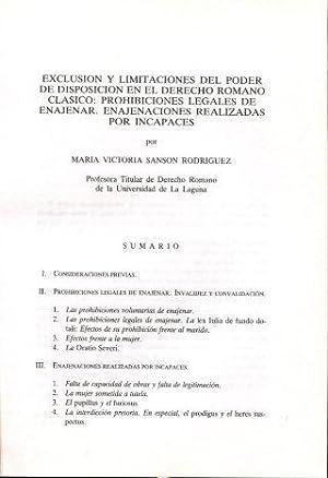 EXCLUSION Y LIMITACIONES DEL PODER DE DISPOSICION: SANSON RODRIGUEZ, Maria