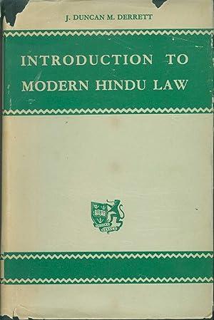 Introduction to Modern Hindu Law: Derrett, J. D.