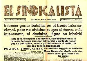 EL SINDICALISTA. ORGANO DEL PARTIDO SINDICALISTA. AÑO III. N. 202. 24-ENERO-1937.: PERIODICO...