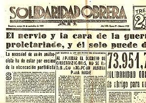 SOLIDARIDAD OBRERA. AIT. AÑO VIII. N.1733. 16-NOVIEMBRE-1937.: PERIODICO.