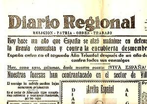 DIARIO REGIONAL. AÑO XXX. N. 9603. 18-JULIO-1937.: PERIODICO.