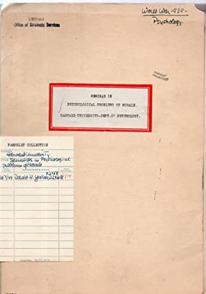 Worksheets on Morale. Seminar in Psychological Problems of Morale: Henry A. Murray