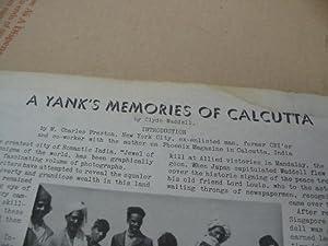 A YANK'S MEMORIES OF CALCUTTA.: Waddell, Clyde.