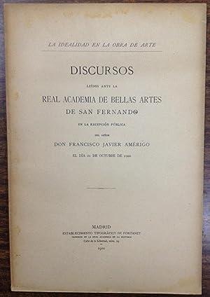 LA IDEALIDAD EN LA OBRA DE ARTE.: AMERIGO, Francisco Javier