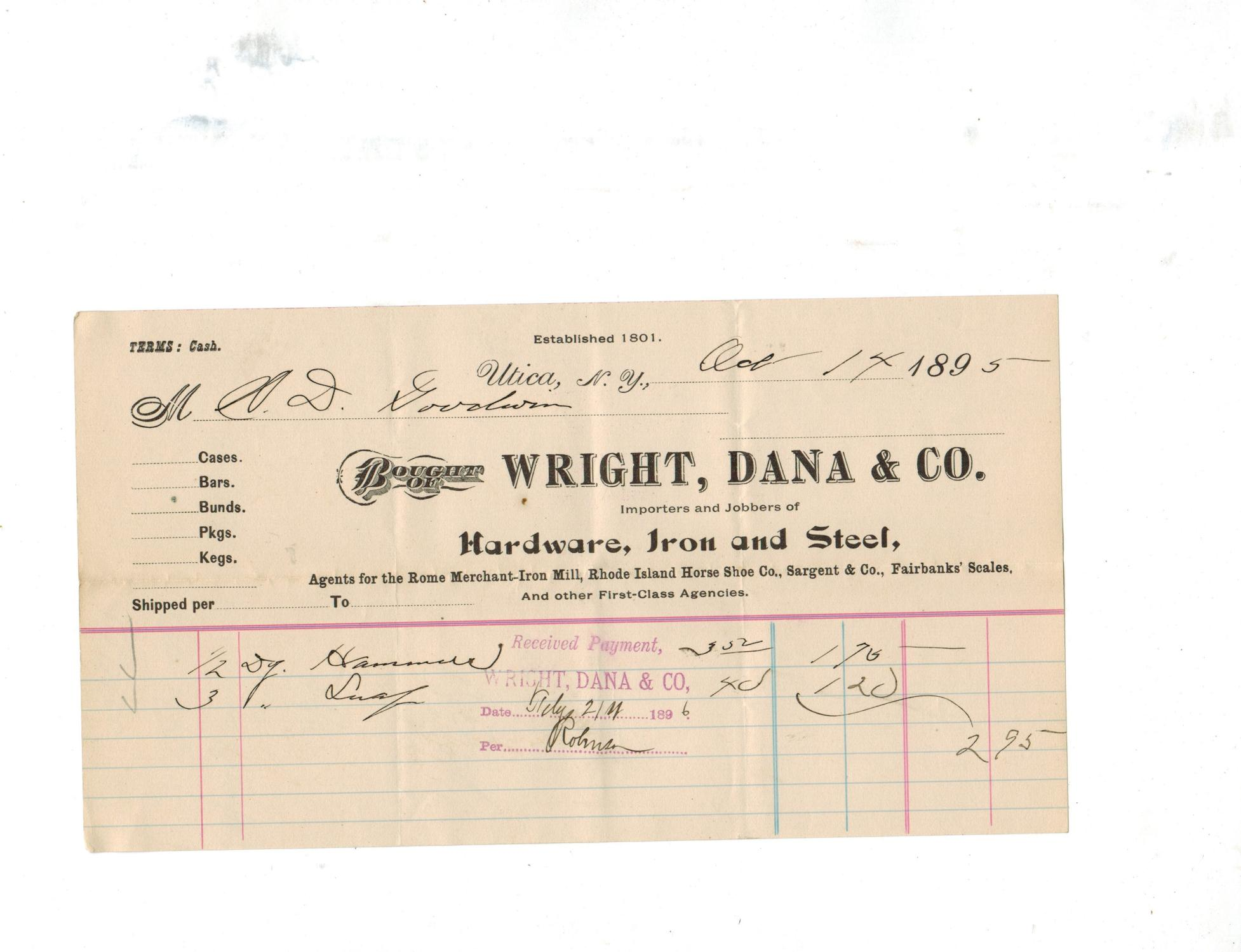 Billhead: WRIGHT, DANA & CO , IMPORTERS NAD