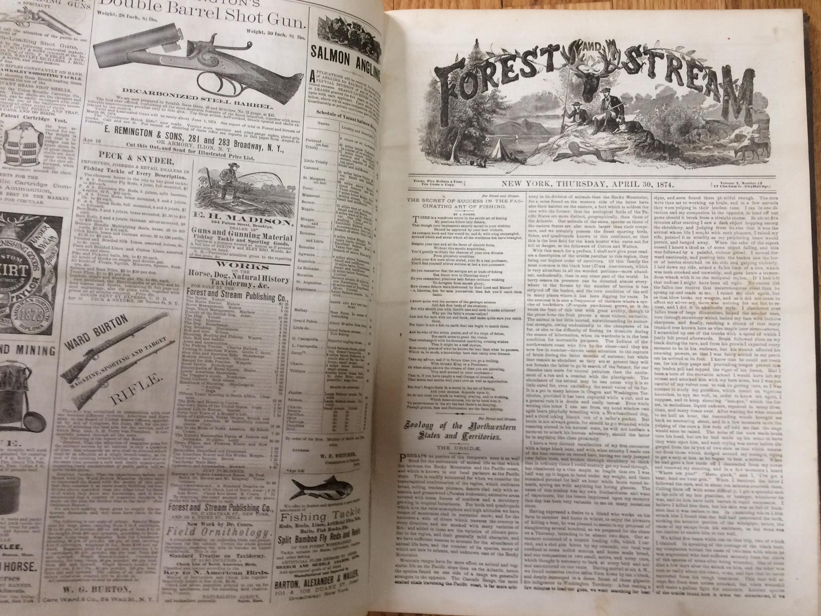 FOREST AND STREAM (Magazine). Bound Volume II, Feb. 12, 1874-Aug. 6, 1874. Hardcover