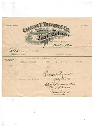 Billhead: CHARLES F. BRENNER & CO., PACKERS AND DEALERS IN LEAF TOBACCO