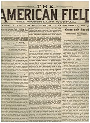 THE AMERICAN FIELD, THE SPORTSMAN'S JOURNAL. November 6, 1886