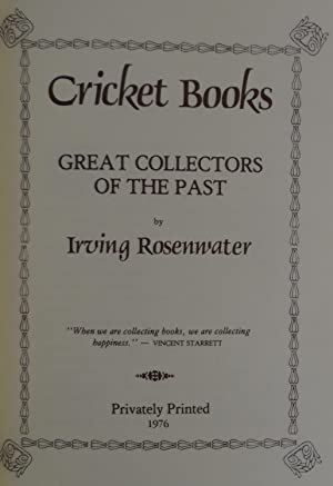 Cricket Books: Great Collectors of the Past.