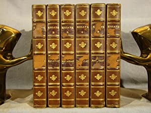 Essays by Lord Macaulay. Six volumes in three-quarter polished calf & marbled boards.