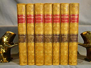 The Pictorial Edition of the Works of Shakspere. 7 volumes in period half calf gilt & marbled boa...