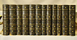 Works of John Ruskin. 12 volumes in half black gilt paneled morocco & marbled boards, 1886.