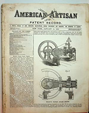 American Artisan Jan 15, 1868 to July 8, 1868 WITH Patent Record .A Supplement to American Artisa...
