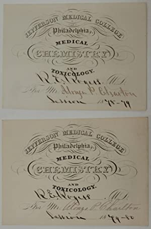Pair of Chemistry lecture tickets for the 1878 and 1879 sessions of Doctor R. E. Rogers for stude...